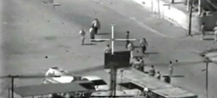 A frame-grab from a US Apache gunship video of unarmed Iraqi civilians being killed. (photo: Apache Crew)
