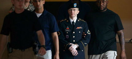 Bradley Manning is escorted out of the court room. (photo: Scott Galindez/RSN)