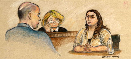 Bradley Manning's former team leader is cross examined by David Coombs, while Judge Denise Lind looks on. (art: Kay Rudin/RSN)