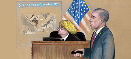 Bradley Manning's Attorney David Coombs shows the collateral damage video during closing arguments. (art: Kay Rudin/RSN)