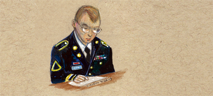 Bradley Manning reviewing a document during his court-martial. (art: Kay Rudin/RSN)