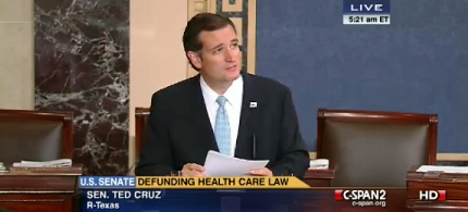 Ted Cruz during his filibuster. (photo: CSPAN)