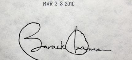 President Obama's signature on the Affordable Care Act. (photo: unknown)