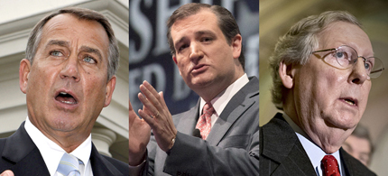 John Boehner, Ted Cruz and Mitch McConnell - Who is the Republican leader? (photos: Reuters/Larry Downing/Adrees Latif/AP/J. Scott Applewhite)