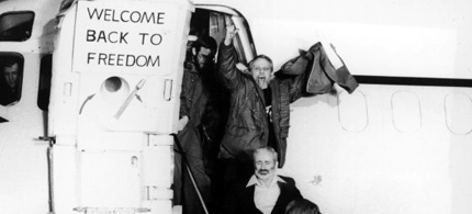 In 1981, one day after their release, American hostages safely landed at Rhein-Main U.S. Air Force base in Frankfurt, West Germany. (photo: AP)