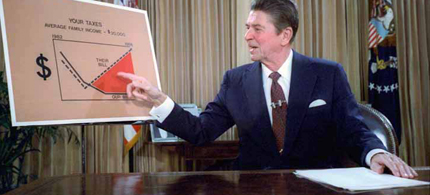 Reagan gives a televised address from the Oval Office outlining his plan for Tax Reduction Legislation in July 198. (photo: Wikipedia)