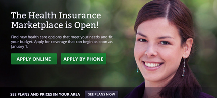 The homepage of Healthcare.gov, the online home of the new US health insurance exchange marketplace. (photo: Healthcare.gov)