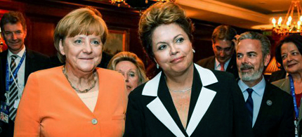 Brazil's President Dilma Rousseff, right, and German Chancellor Angela Merkel. (photo: Roberto Stuckert Filho/Reuters)