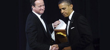 David Cameron with Barack Obama at a state dinner in Cameron's honour in 2012 at the White House. (photo: Mandel Ngan/AFP/Getty Images)