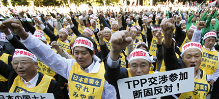 Farmers from Miyagi prefecture raise their fists along with other farmers from across Japan during a rally against Japan participating in rule-making negotiations for the U.S.-led Trans-Pacific Partnership (TPP) in Tokyo, October 26, 2011. (photo: Yuriko Nakao/Reuters)