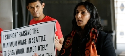 Sawant ran a grassroots campaign and said she ignored warnings that she had no chance of winning without corporate money or Democratic endorsement. (photo: Ted S. Warren/AP)