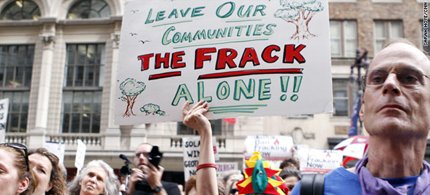 Protesters in Philadelphia rally against the process of hydraulic fracturing, or 'fracking,' to access natural gas. (photo: CNN)