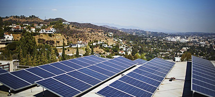 Solar panels on a home in Los Angeles. Alec will promote legislation planning to penalise individual homeowners who install solar panels. (photo: Cultura/Rex)