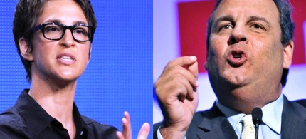 Rachel Maddow, Chris Christie. (photo: Chris Pizzello/Josh Reynolds/AP)