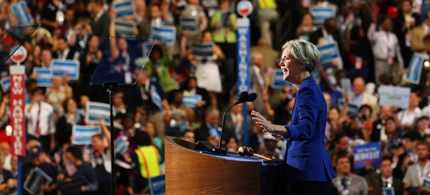 Elizabeth Warren addressing the Democratic National Convention. (photo: Joe Raedle/Getty Images)
