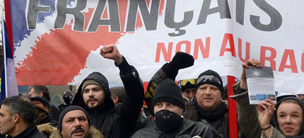 The protest against Hollande turned anti-semitic. (photo: AFP)