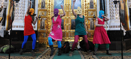 Five members of Pussy Riot performed at the Christ the Savior Cathedral in Moscow in 2012. (photo: Pussy Riot)