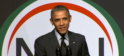 President Obama addressing the annual convention of the National Action Network. (photo: WP)