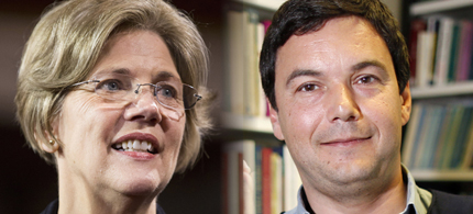 Elizabeth Warren, Thomas Piketty. (photo: Joshua Roberts/Charles Platiau/Reuters)