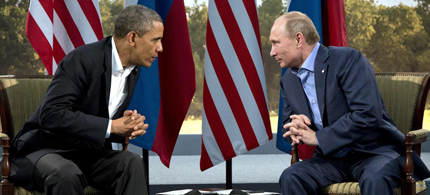 President Barack Obama pictured with Russian president Vladimir Putin in Ireland last June. (photo: Evan Vucci/AP)