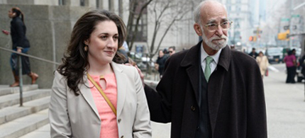 Cecily McMillan and attorney Martin R Stolar. (photo: Andrew Gombert/EPA)