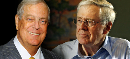 Koch Industries executive VP David Koch, left and Charles Koch, head of Koch Industries, right. (photo: AP/Getty Images)