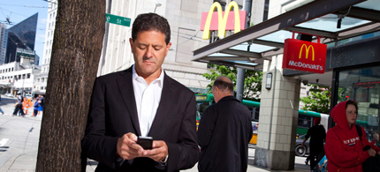 Nick Hanauer in front of a Mc'Donalds. (photo: Robbie McClaran/Redux Pictures)