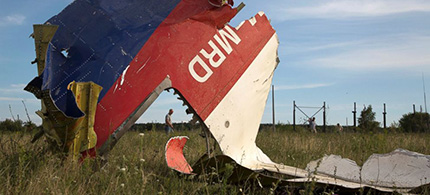 A man walks past a piece of the crashed Malaysia Airlines Flight 17 near the village of Hrabove, Ukraine. (photo: Dmitry Lovetsky/AP)