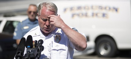 Ferguson Police Chief Thomas Jackson speaks during a news conference at police headquarters in Ferguson, Mo., on Aug. 13. (photo: Mario Anzuoni/Reuters)