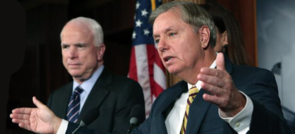 Senators McCain and Graham held hearings on regime change in Syria. (photo: Getty Images)