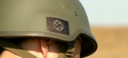 Nazi symbol on helmet worn by members of Ukraine's Azov battalion. (photo: filmed by a Norwegian camera team and shown on German TV)