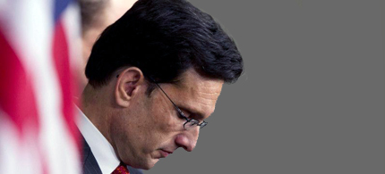Former House Majority Leader Rep. Eric Cantor (R-VA) pauses during a news conference on Capitol Hill on Thursday. (photo: Evan Vucci/AP)