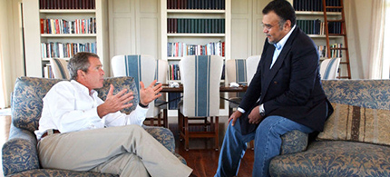 President George W. Bush meets with Prince Bandar bin Sultan, the Saudi Ambassador to the United States, on August 27, 2002, at Bush's ranch in Crawford, Texas. (photo: Eric Drapper/The White House/Getty Images)