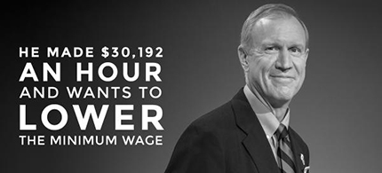 Illinois billionaire and now governor Bruce Rauner is a partner in a firm that manages more than $40 million of the state's $50 billion pension system. (photo: twitter/Quinn for Illinois)