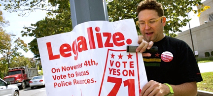 Adam Eidinger, chairman of the DC Cannabis Campaign, puts up posters encouraging people to vote yes on DC Ballot Initiative 71 to legalize small amounts of marijuana for personal use, in Washington, D.C. (photo: Jacquelyn Martin/AP)