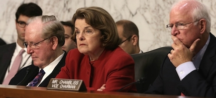 Members of the Senate Intelligence Committee (from left) Senators Jay Rockefeller, D-W.Va., Dianne Feinstein, D-Calif., and Saxby Chambliss, R-Ga., listen to testimony in a Senate hearing room in this file photo. (photo: AP)