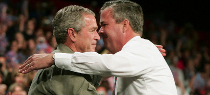In a politically prudent move, Jeb Bush resigns as George W. Bush's brother. (photo: Jason Reed/Reuters)
