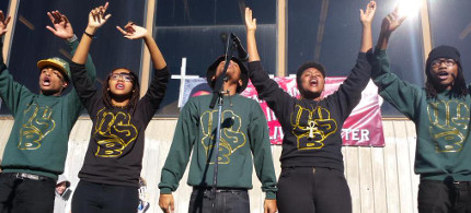 'Young, Gifted and Black' perform at Oscar Grant Vigil in Oakland. (photo: Shadi Rahimi)