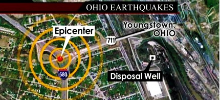 Map of a fracking earthquake in Ohio. (photo: WKBN)