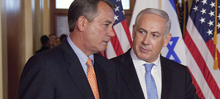 Israeli prime minister Benjamin Netanyahu with House Speaker John Boehner on Capitol Hill in Washington. (photo: AP)