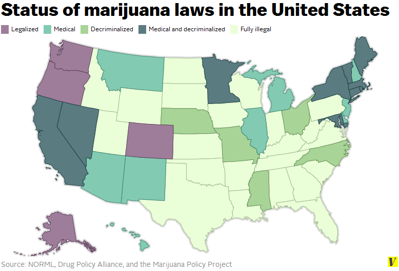 Status of marijuana laws in the United States (photo: Drug Policy Alliance)