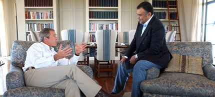 Prince Bandar bin Sultan meeting with President George W. Bush in Crawford, Texas. (photo: White House)