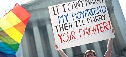 An LGBT marriage advocate protests outside the Supreme Court. (photo: AP)