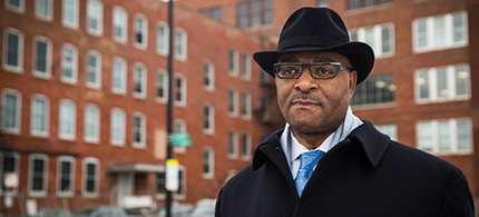 Cook County commissioner Richard Boykin outside Homan Square.  (photo: Chandler West/Guardian UK)