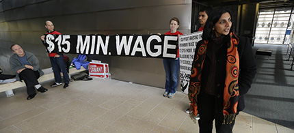 The $15 minimum wage has not been hurting small businesses. (photo: AP)