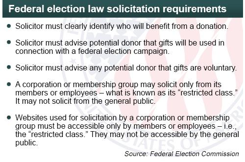 Requirments on solicitation for federal law. (photo: Federal Election Commission)