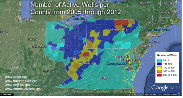 Geographical data displaying the number of fracking wells in the Northeast. (photo: Atmospheric Environment)