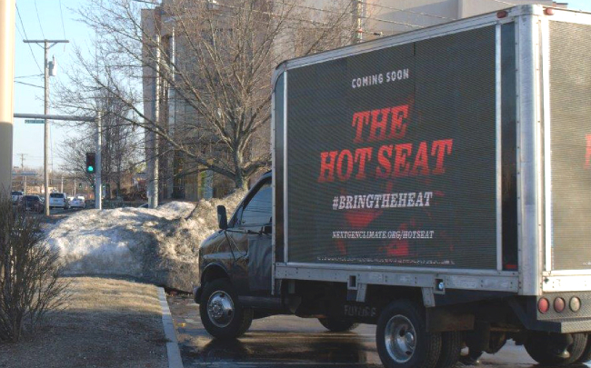 NextGen Climate teased its Hot Seat campaign with this mobile billboard in New Hampshire. (photo: NextGen Climate)