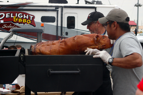 A pig being roasted at Joni Ernst's 1st annual Roast and Ride. (photo: Scott Galindez/RSN)