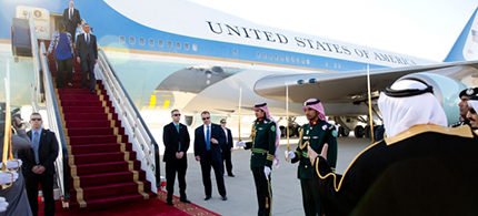 President and Mrs. Obama disembark from Air Force One at King Khalid International Airport in Riyadh in 2015. (photo: Pete Souza/White House)